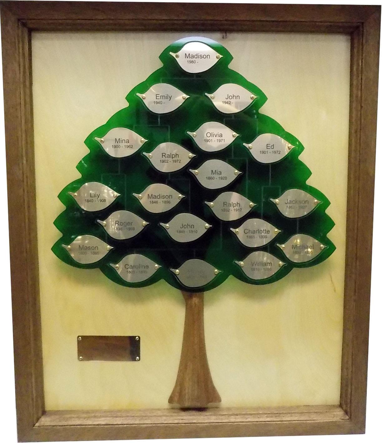 Framed Natural Wood Family Tree